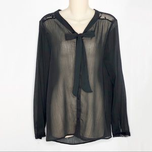 The Limited | Sheer Black Lace Detail Blouse